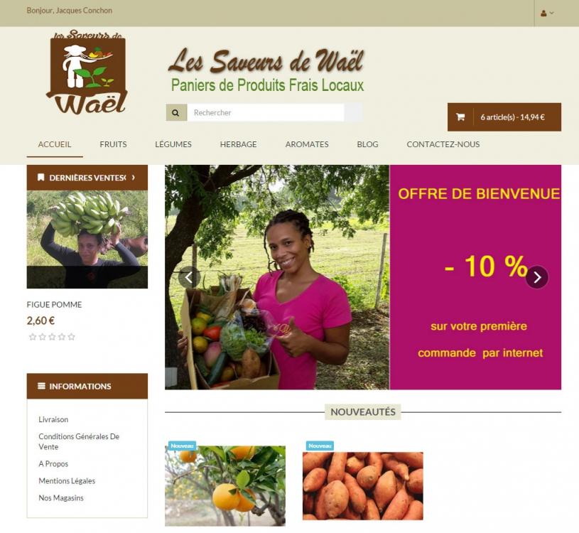 Site e-commerce Les saveurs de Waël